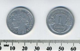 France 1944 - 1 Franc Aluminum Coin - Liberated France photo