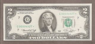 1976 G Chicago - $2 Au Fancy Low Starting S 0000.  4927 Star Note photo