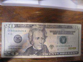 2004 A $20.  00 Bill.  United States Federal Reserve Note.  Gk Twenty Dollar Bill photo