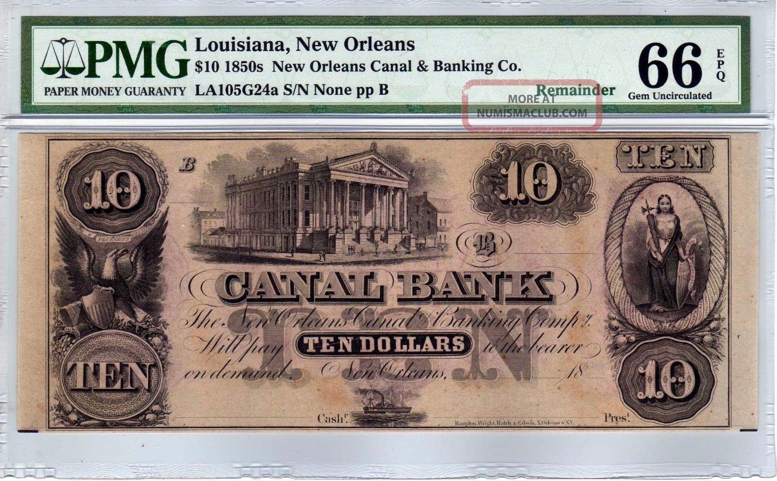 $10 1850s Orleans Canal & Banking Co.  Louisiana - Pmg Gem Uncirculated 66 Epq Paper Money: US photo