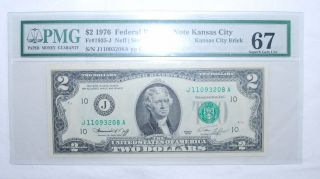 1976 $2.  00 Federal Reserve Note - Kansas City Brick - Pmg - Gem Unc 67 208a photo