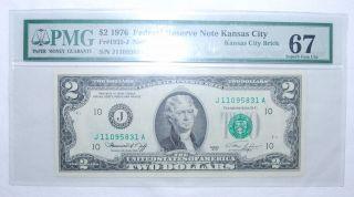 1976 $2.  00 Federal Reserve Note - Kansas City - Pmg - Gem Unc 67 - 831a photo