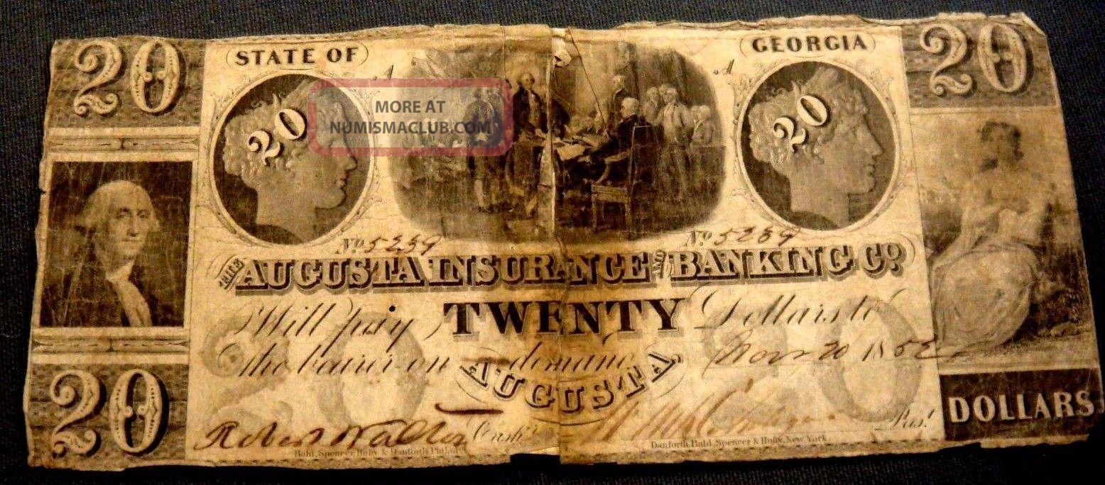 Obsolete Currency $20 The Augusta Insurance Banking Co.  Georgia Nov 20th 1852 Paper Money: US photo
