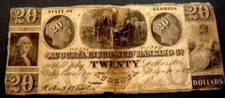 Obsolete Currency $20 The Augusta Insurance Banking Co.  Georgia Nov 20th 1852 photo
