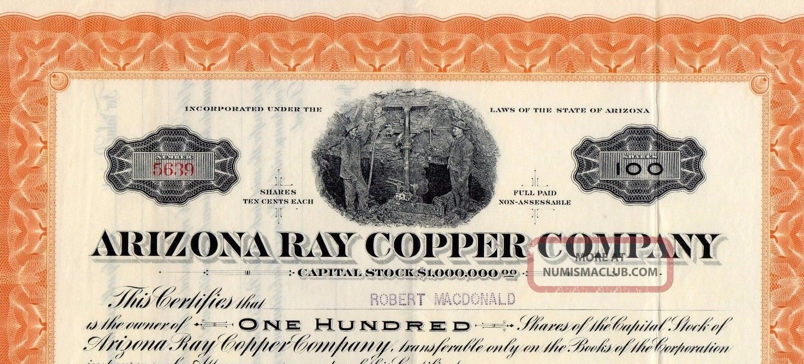 Stock Certificate:arizona Ray Copper Co,  1917 Stocks & Bonds, Scripophily photo