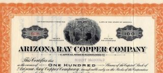 Stock Certificate:arizona Ray Copper Co,  1917 photo