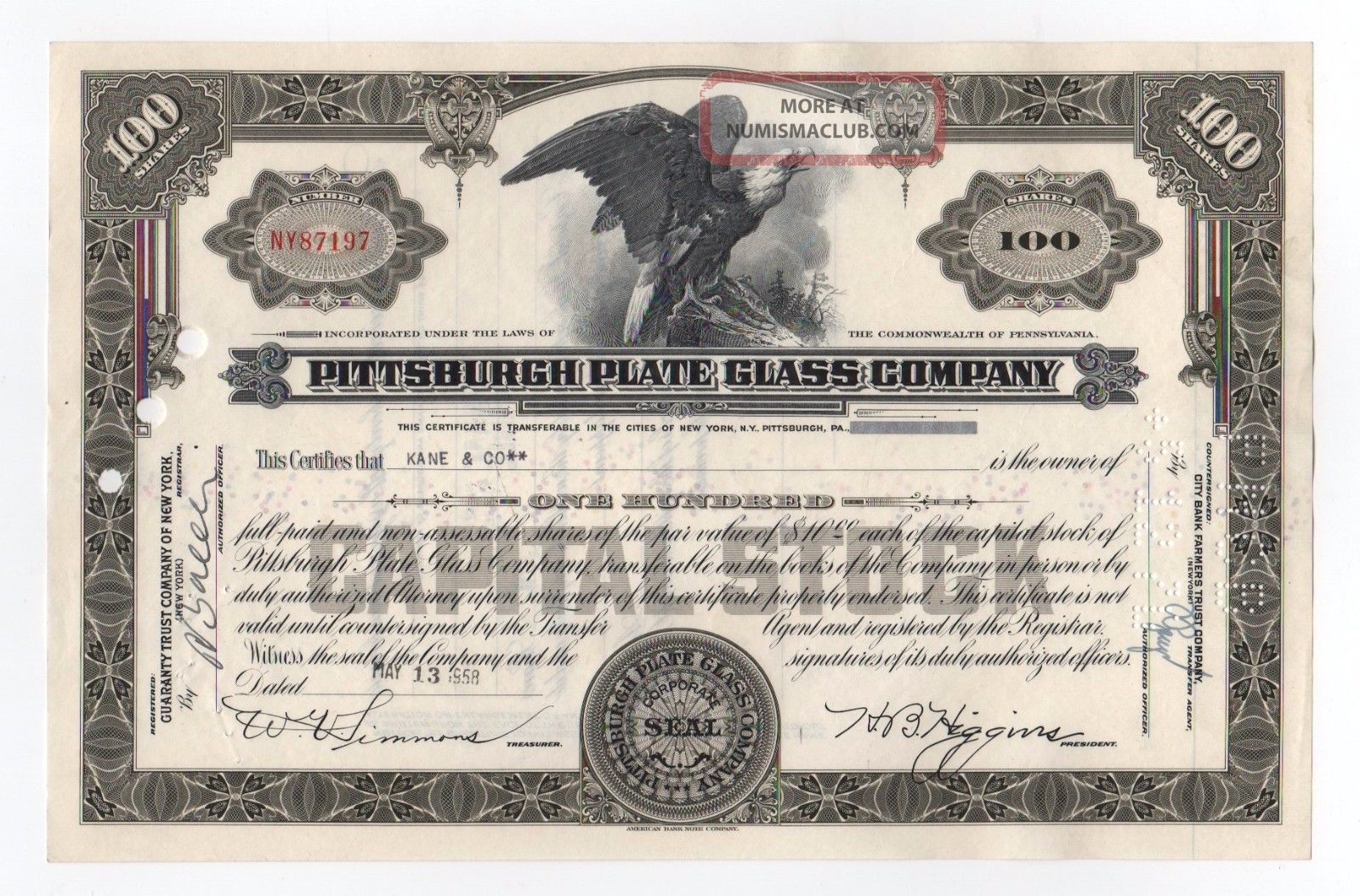 Pittsburgh Plate Glass Company Stock Certificate Stocks & Bonds, Scripophily photo