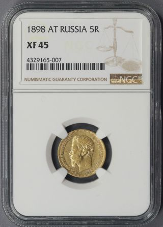 1898 At Russia Gold 5r 5 Roubles Xf 45 Ngc photo