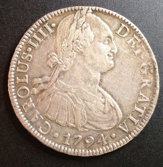 1794 Mexico City Carolus Iiii 8 Reales F.  M.  Silver Coin Details photo