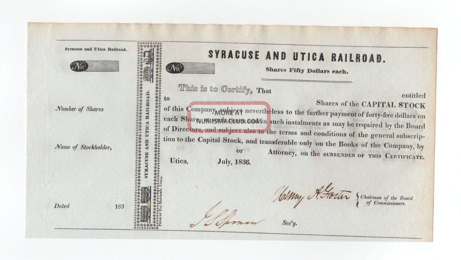 1836 Syracuse And Utica Railroad Stock Certificate Transportation photo