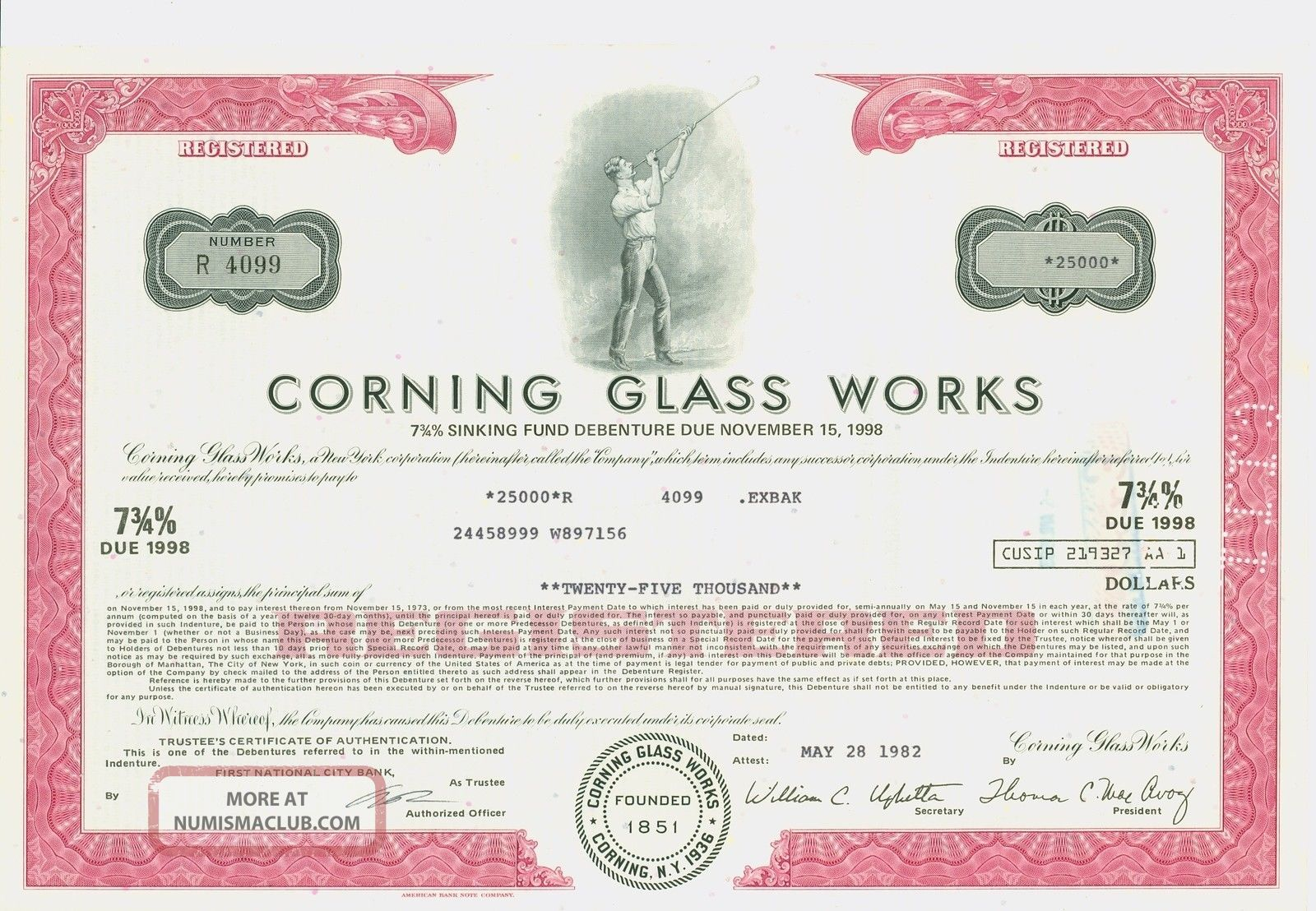1973 Registered $25,  000 Bond Certificate Corning Glass Stocks & Bonds, Scripophily photo