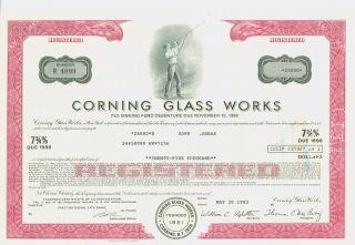1973 Registered $25,  000 Bond Certificate Corning Glass photo