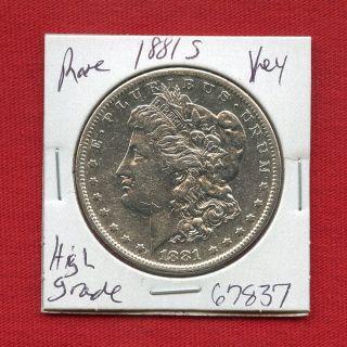 1881 S Morgan Silver Dollar 67837 Coin Us Rare Key Date Estate photo