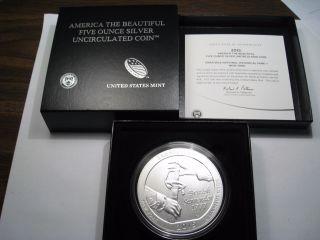 2015 - P Saratoga 5 Troy Oz Us Silver Atb America The Coin.  W/ Coa&box photo