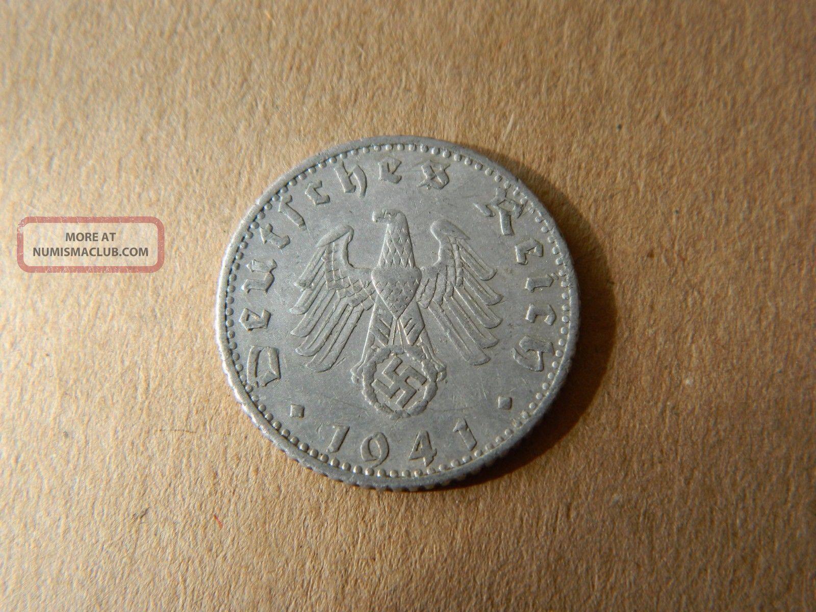 Nazi Third Reich German 50 Reichspfennig 1941 - F With Swastika - Km 96 - (3306) Third Reich (1933-45) photo