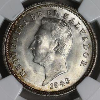 1943 Ngc Ms 65 El Salvador 90 Silver 25 Centavos 2 Year Type Coin (15091003c) photo