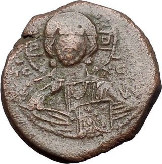 Jesus Christ Class B Anonymous Ancient 1028ad Byzantine Follis Coin Cross I54611 photo
