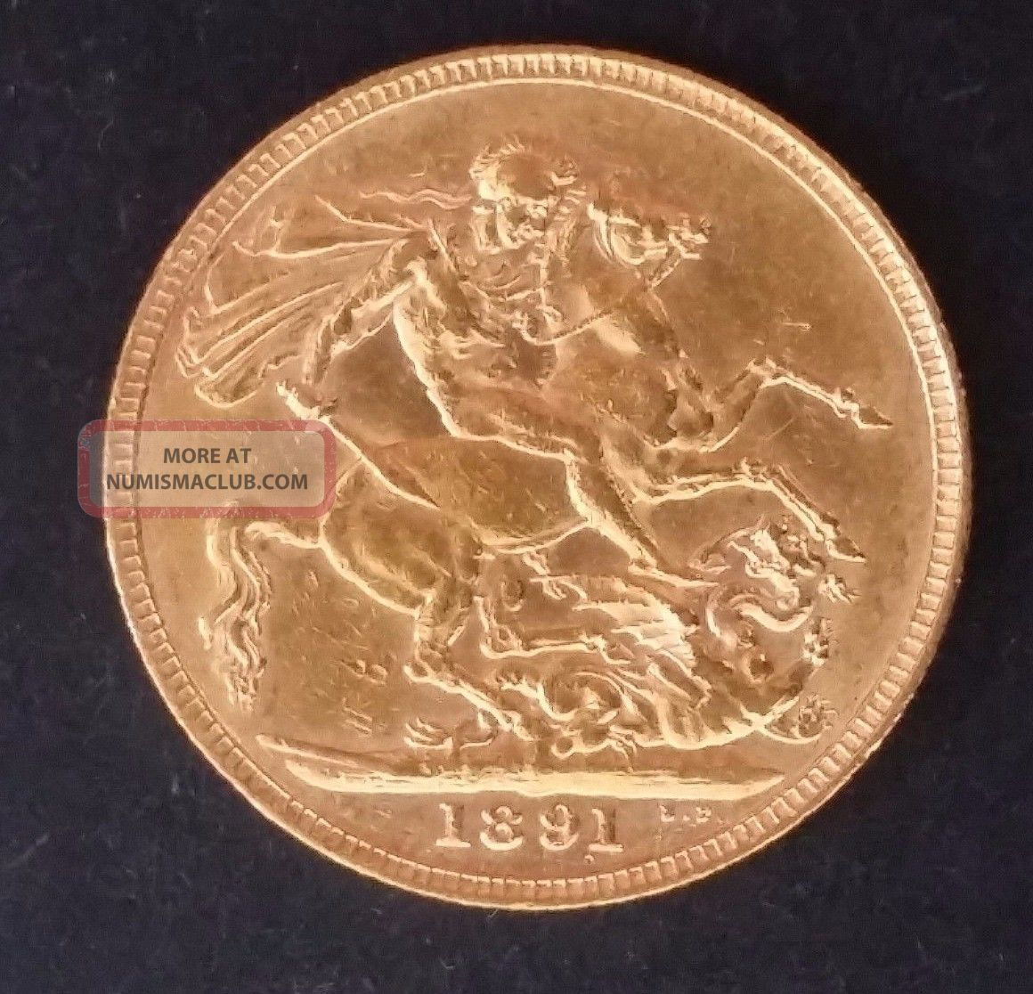 1891 Great Britain One Sovereign Gold (. 916) Coin Queen Victoria Europe photo