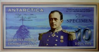 Antarctica 2001 Specimen $10 Bank Note Gem Cu Serial 0000 - - - photo