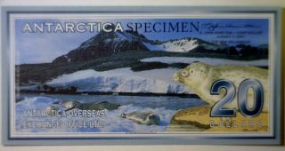 Antarctica 2001 Specimen Glacier $20 Bank Note Gem Cu Serial 0000 - photo