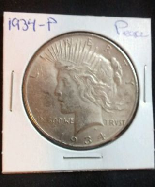 1934 - P Peace Silver Dollar 90 Silver U.  S.  Coin.  (048) photo