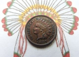 1887 Indian Head Cent Au - Bu photo