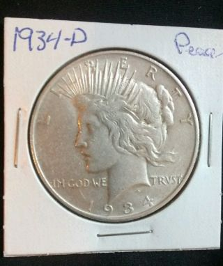 1934 - D Peace Silver Dollar 90 Silver U.  S.  Coin.  (050) photo