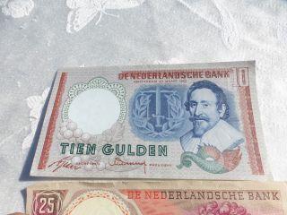 Netherlands 10 Gulden 1953 Hugo De Groot 25 Gulden Christiaan Huygens 1955 photo