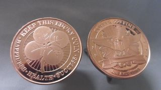 Five 1oz.  Luck Of The Irish Clover.  999 Fine Copper Bullion Round photo