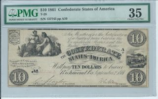 $10 1861 Confederate States Csa Currency T - 28 Pmg 35 Choice Vf Women Urn Train photo