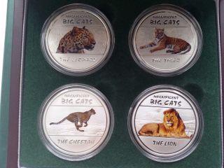 Congo 4 X 30 Francs Magnificent Big Cats,  Lion,  Cheetah,  Leo,  Tiger,  Silver 2011 photo