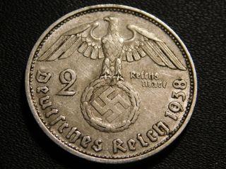 2 Reichspfennig 1937-1939 Coin with SWASTIKA Stamp WW2 #74