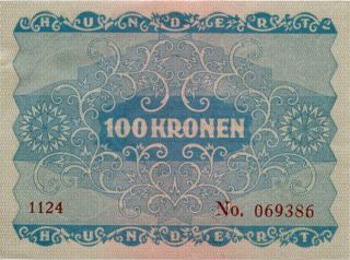 Austria 100 Kronen 1922 No069386 photo