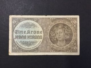 1940 Bohemia And Moravia Paper Money - One Koruna Banknote photo