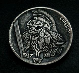 Hobo Nickel Iron Maidens Eddie On A 1937 Buffalo Nickel By Eddie Romero photo