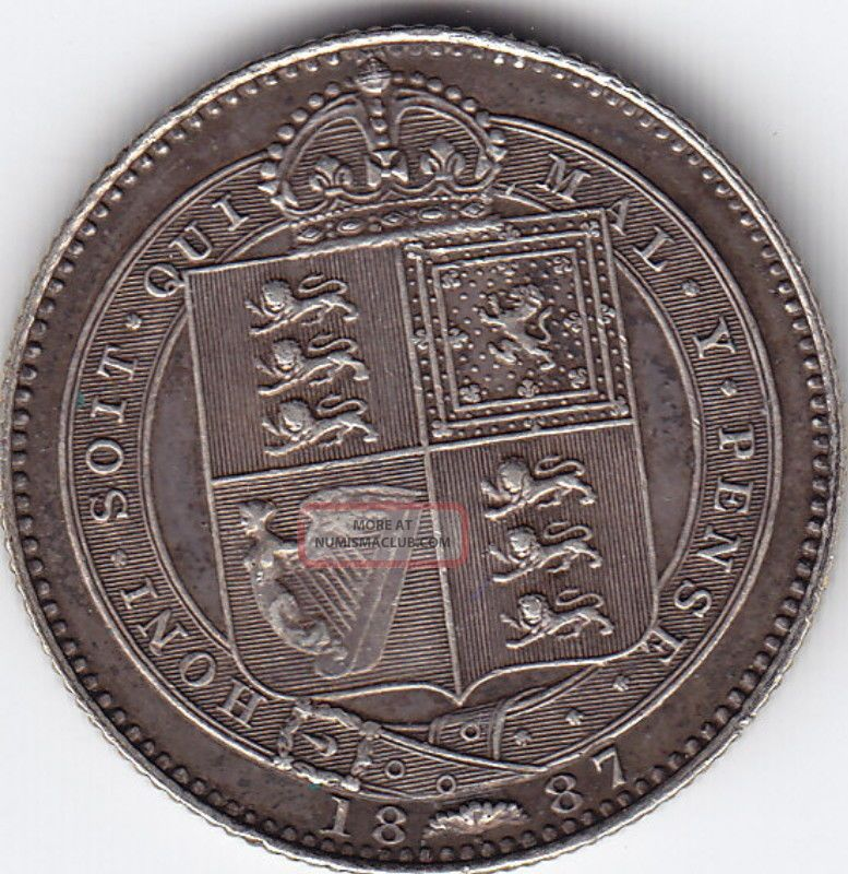 1887 Great Britain - Uk - Shilling Coin UK (Great Britain) photo