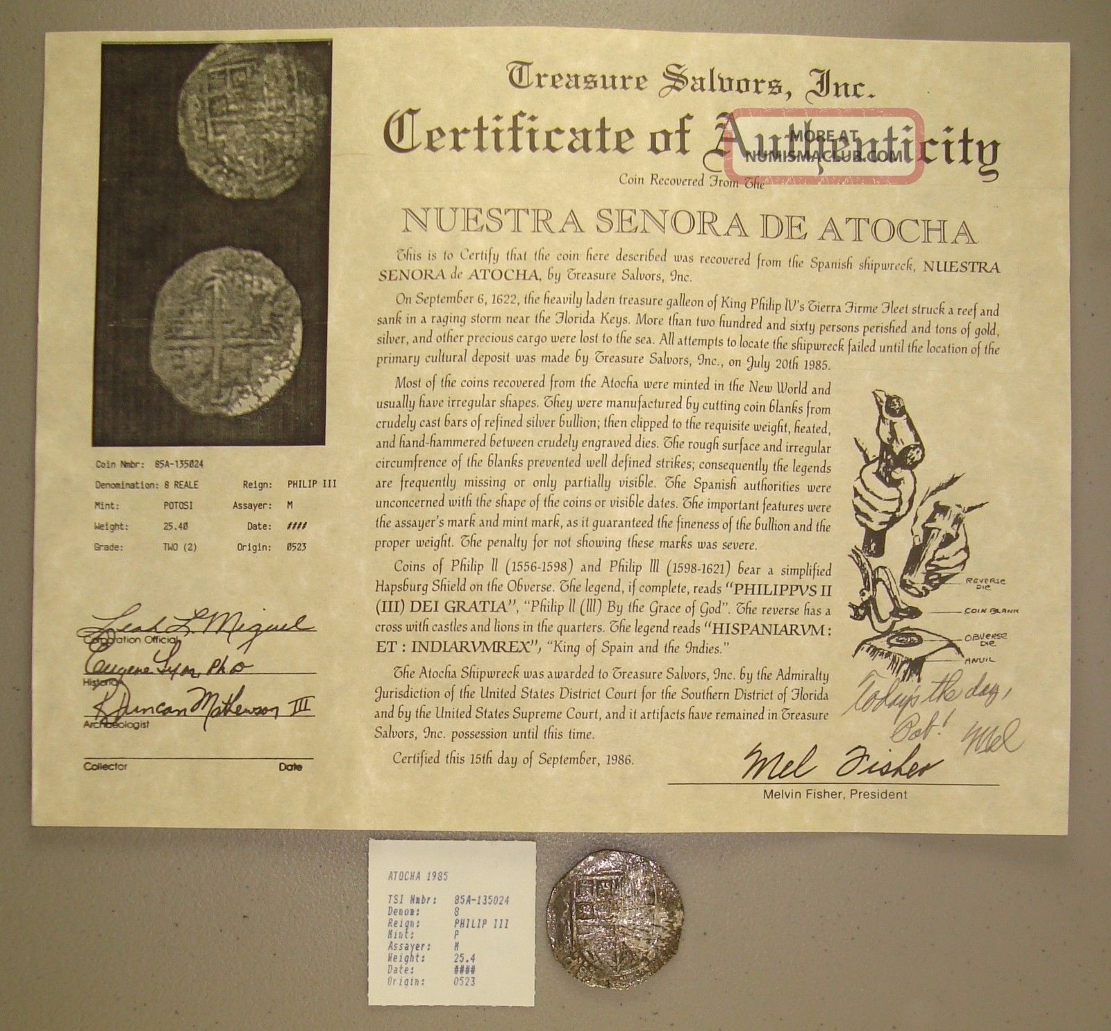 1622 Atocha Shipwreck Recovered Potosi,  Assayer M Silver 8 Reales Grade 2 Europe photo