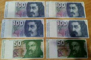 Switzerland Swiss Francs 100 (4) And 50 (2) Vintage Paper Money photo