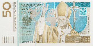 50 Zloty - Pope John Paul Ii / Papiez Jan Pawel Ii - Commemorative Banknote photo