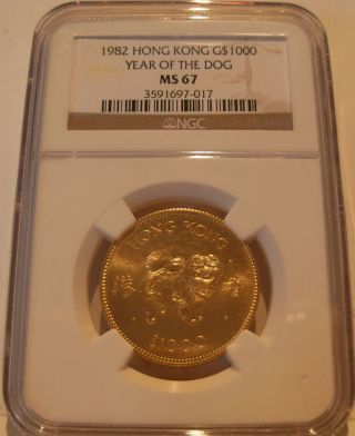 Hong Kong 1982 Gold $1,  000 Ngc Ms - 67 Year Of The Dog photo