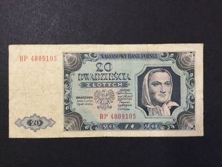 1948 Poland Paper Money - 20 Zlotych Banknote photo