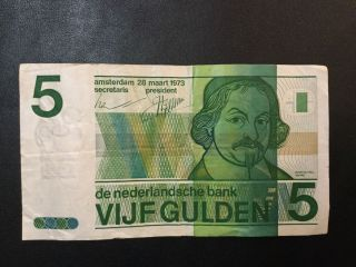 1973 Netherlands Paper Money - 5 Gulden Banknote photo