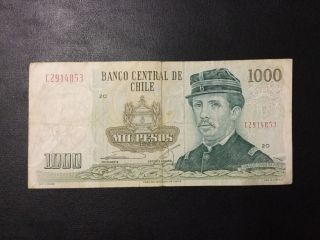 1986 Chile Paper Money - 1,  000 Pesos Banknote photo