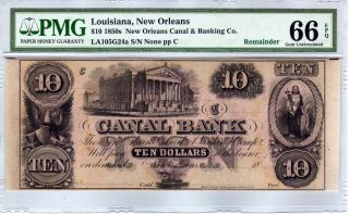 $10 1850s Orleans Canal & Banking Co.  Louisiana - Pmg Gem Uncirculated 66 Epq photo