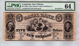 $5 1840s Orleans Canal & Banking Co.  Louisiana - Pmg Choice Uncirculated 64 photo