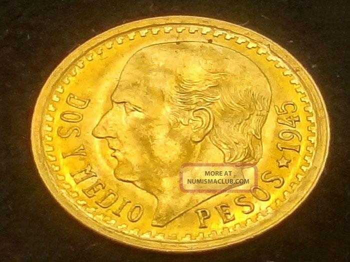 1945 Dos Y Medio 2 5 Pesos Mexican Gold Coin D494