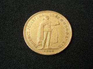 Hungary,  10 Korona,  1906,  Gold photo