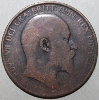 British Large Penny Coin,  1907 - Km 794 - Edward Vii United Kingdom Uk Britain photo