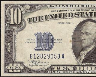 Au 1934 A $10 Dollar Bill Silver Certificate Wwii Ww2 Currency Yellow Seal Note photo