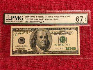 1996 Fr.  2175 - B $100 Scarce Double Binary S/n 88887777 Pmg 67 Epq. photo